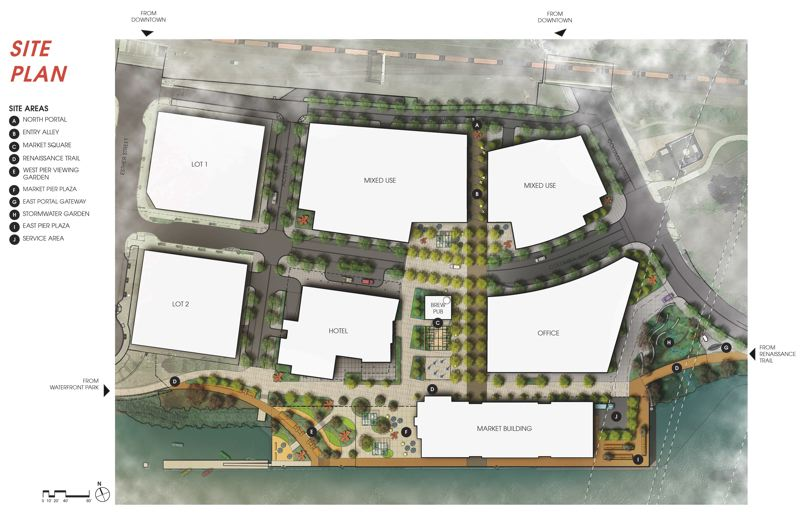 COURTESY: GREENWORKS - A plan by the Portland landscape architecture and environmental design firm Greenworks, showing the public market building(bottom center) that will be built on the site of the old marine Terminal 1. White shapes indicate other lots that the Port of Vancouver hopes to develop with the help of private investors.