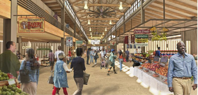 COUTESY: GRAHAM BABA ARCHITECTS - A rendering by the Seattle architecture firm Graham Baba, showing the public market building that will be built using some of the original timbers of the old marine Terminal 1. The firm has built similar markets in Wenatchee and Seattle.