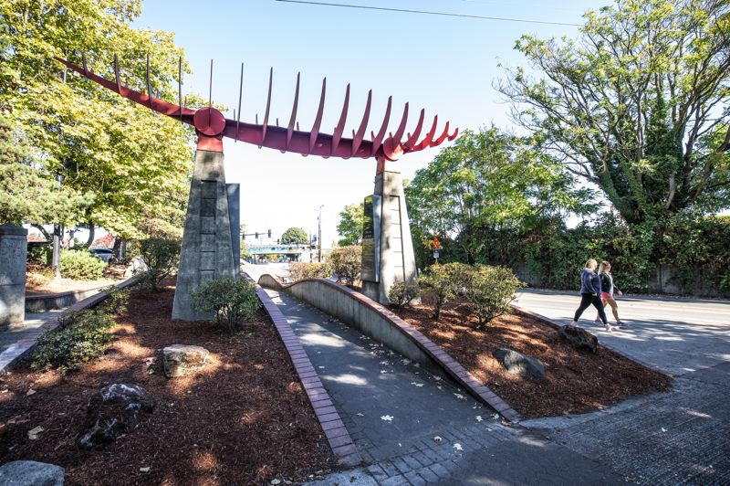 PAMPLIN MEDIA GROUP: JONATHAN HOUSE - A monument to Captain George Vancouver in a space which will be transformed into a sloped park for treating storm water. The Renaissance Trail will cross it on a pedestrian bridge.