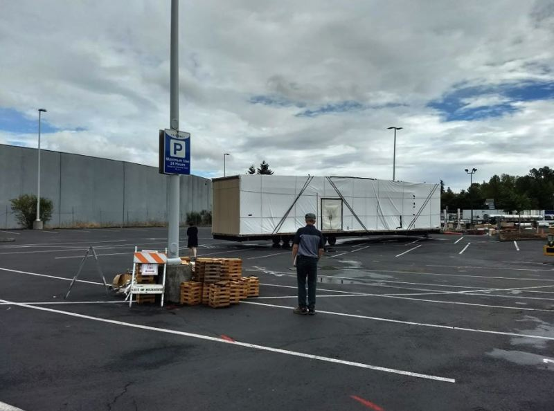 PHOTO COURTESY: CITY OF MILWAUKIE - The first parts for the temporary Ledding Library arrived Sept. 10 to the TriMet Park & Ride.