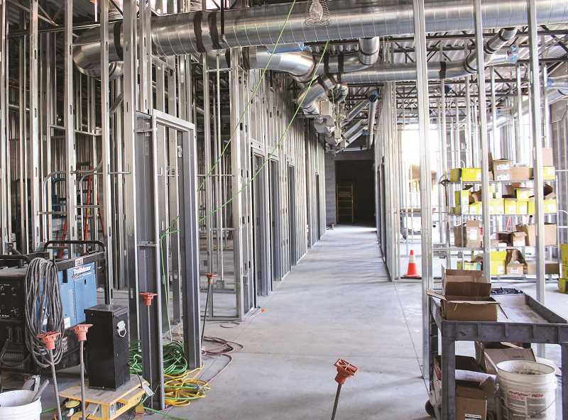 JASON CHANEY - Interior walls, mechanical, electrical and plumbing work are all taking place in the administrative portion of the new jail.