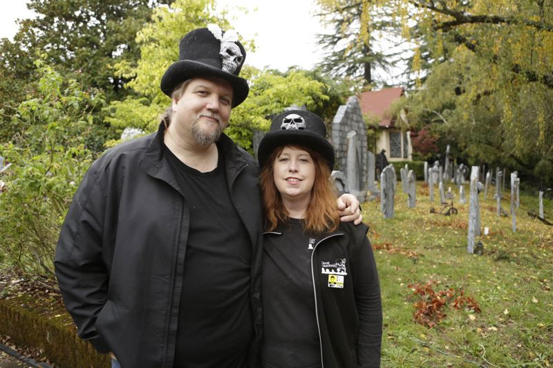SUBMITTED PHOTO - Jeff and Chris Davis are once again opening their popular Halloween yard display in Milwaukie.