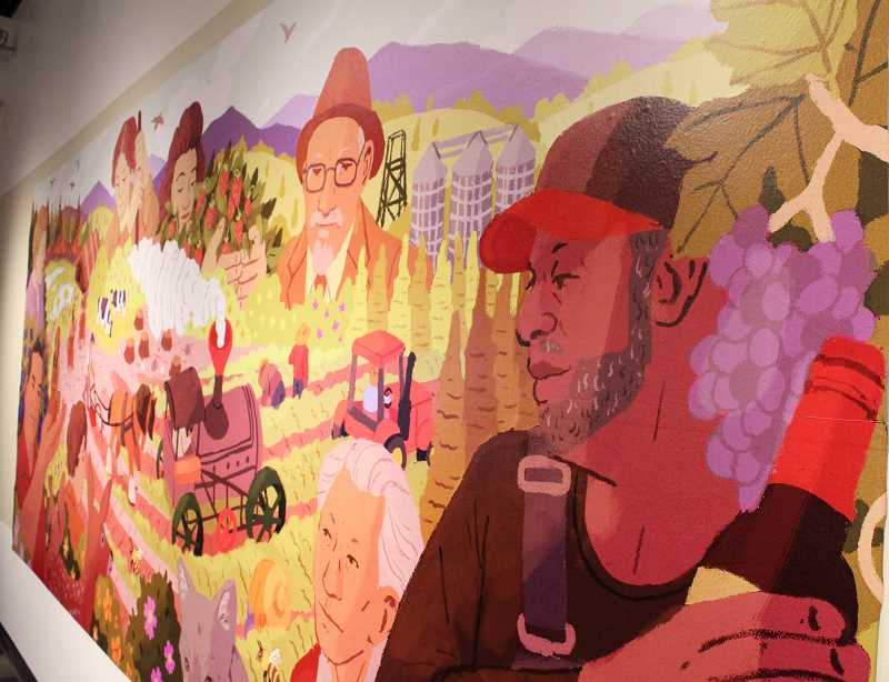 STAFF PHOTO: JANAE EASLON - A mural, created by illustrator Anke Gladnick, stretches across an exhibition wall for 'AgriCulture' at the Washington County Museum in Hillsboro.