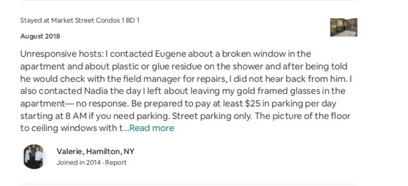 SCREENSHOT: AIRBNB  - A visitor to one of Nadia's Portland properties posted that they couldnt get Nadia to call them back about eyeglasses left in the unit.