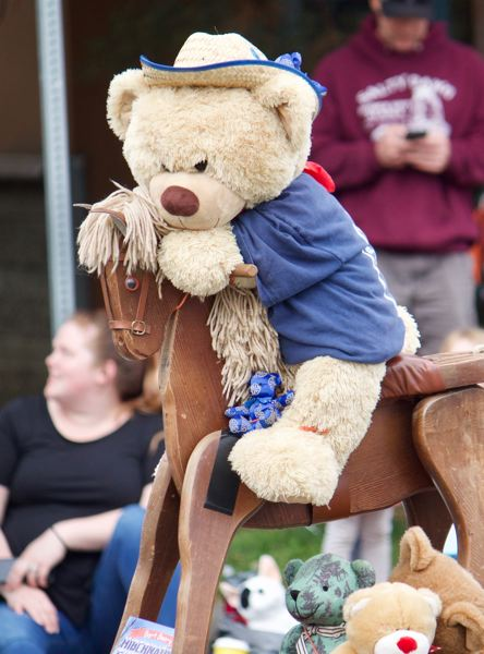 OUTLOOK PHOTO: CHRISTOPHER KEIZUR - You never know what youll see at the Gresham Teddy Bear Parade, like a bear riding a horse.
