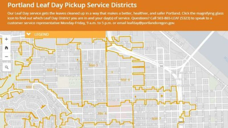 COURTESY PBOT - Interactive Leaf Day schedule map released by the Portland Bureau of Transportation.