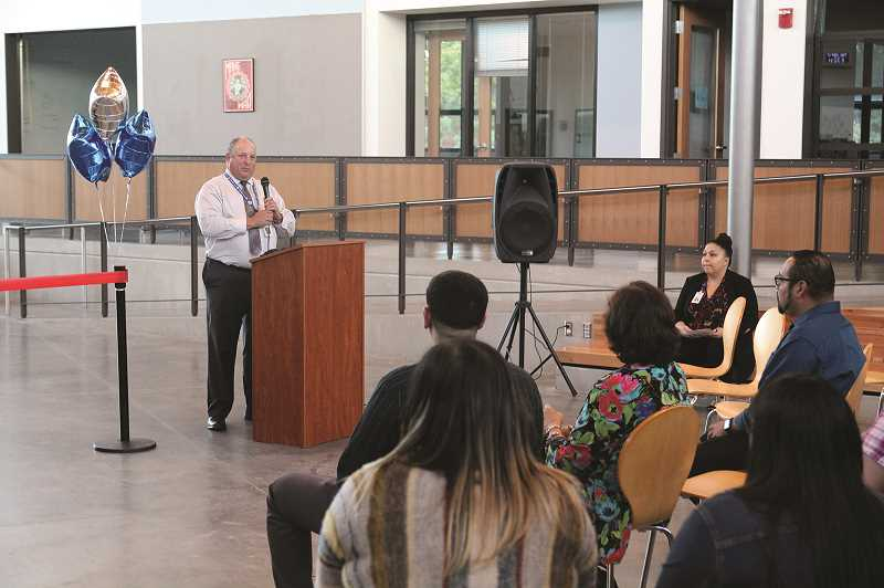 JUSTIN MUCH - Woodburn School District Superintendent Chuck Ranson addresses visitors to the open-house/ribbon-cutting ceremony at Success High School on Thursday, Sept. 27, 2018.