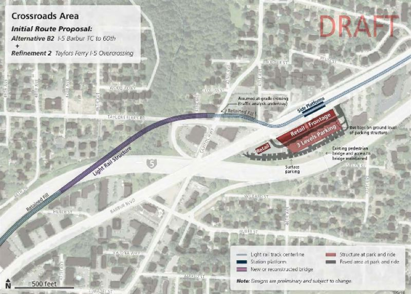 COURTESY METRO - This map shows the preferred route for a new light rail bridge over I-5 in the Crossroads area of Southwest Portland, although other options are still being studied.