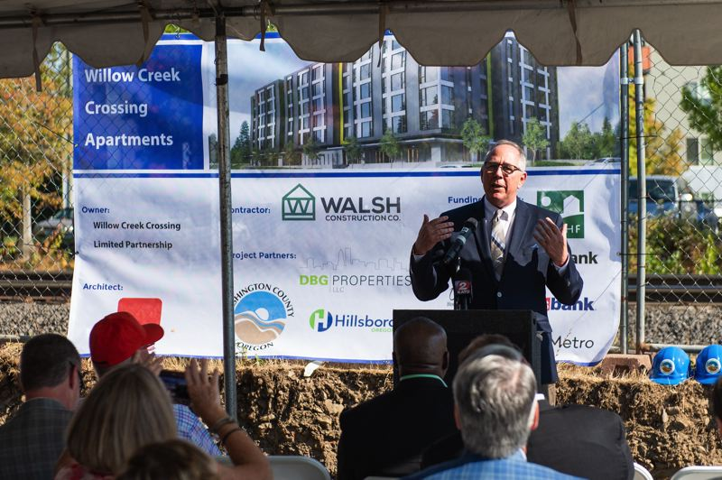 STAFF PHOTO: CHRISTOPHER OERTELL - Hillsboro Mayor Steve Callaway addresses a crowd at the Sept. 5 groundbreaking of the Willow Creek Crossing affordable housing project in Hillsboro. Developments like these are a positive step, but Washington County needs more -- much more.