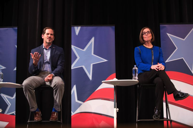 PAMPLIN MEDIA GROUP PHOTO: JAIME VALDEZ - Gov. Kate Brown, a Democrat, is running for her final term against the Republican challenger, Rep. Knute Buehler.