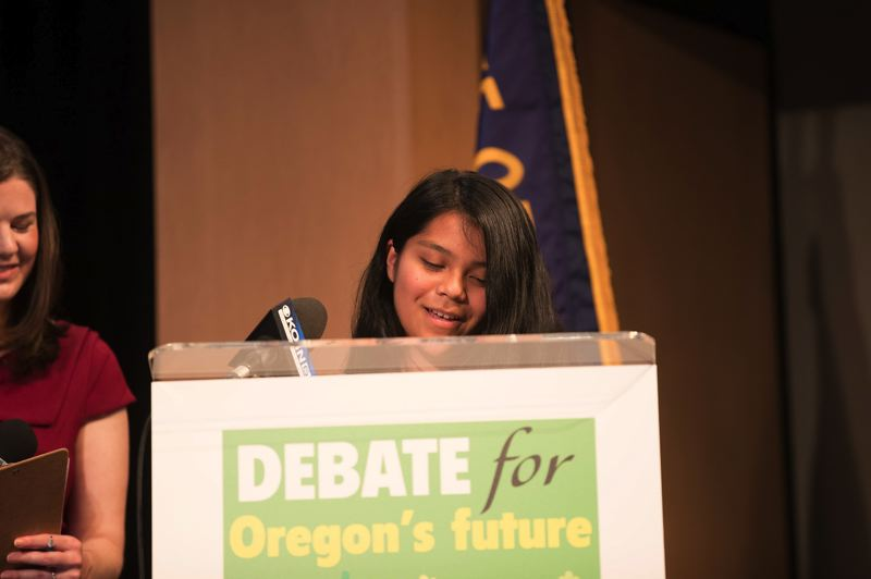 PAMPLIN MEDIA GROUP: JAIME VALDEZ - Genesis Gomez of Portland pressed candidates on the issue of safety for the state's farmworkers.