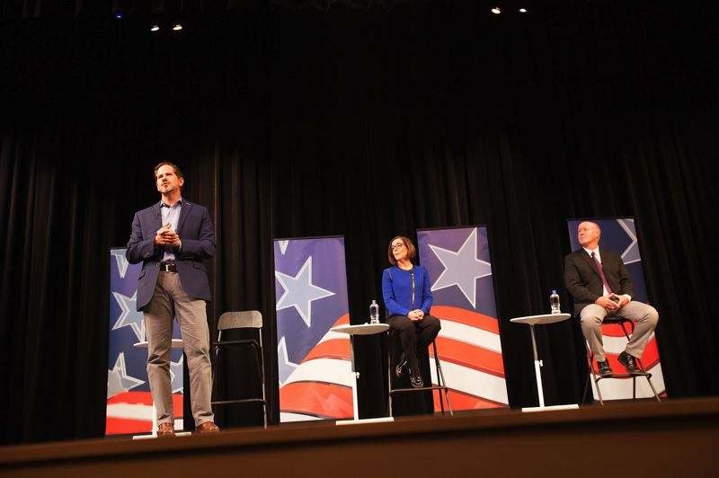 PAMPLIN MEDIA GROUP: JAIME VALDEZ - Three candidates for Oregon governor — Knute Buehler, Kate Brown and Patrick Starnes — answered questions from nearly a dozen high school students across the state.