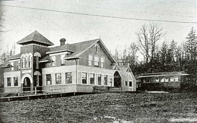 PHOTO COURTESY CLACKAMAS COUNTY HISTORICAL SOCIETY. - The electric railway station in West Linn at the north side of the Oregon City/West Linn bridge. The depot also housed the West Linn City Hall beginning in 1913 and was located roughly where the brick former police station/city hall now stands.