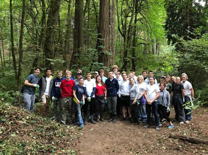 SUBMITTED PHOTO: TERRI JONES - Ninety-eight members of the National League of Young Men attended the Lake Oswego chapter's first philanthropy event at Mary S. Young State Park.