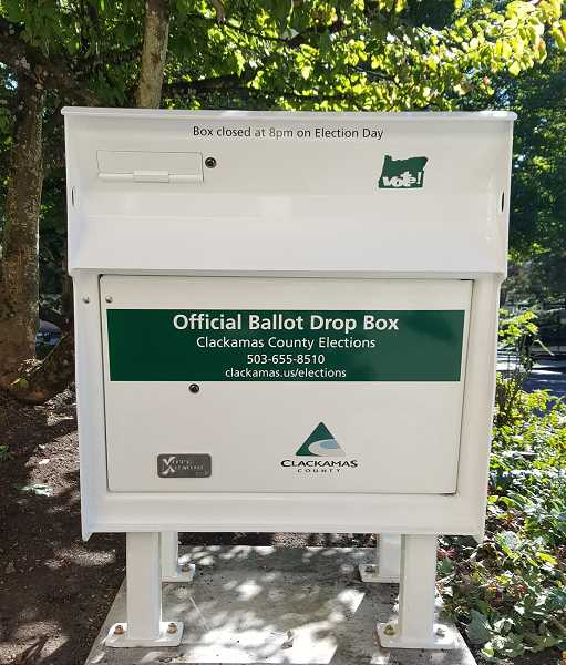 SUBMITTED PHOTO - A new, large-capacity ballot box has been installed in the Fourth Street parking lot behind City Hall (380 A Ave.), replacing a smaller box that was installed a couple of years ago.