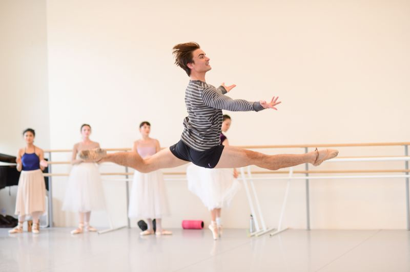 COURTESY: YI-YIN/OBT - There's a lot of jumping in Danish-style ballet. So, OBT's Peter Franc and others will be busy in 'Napoli.'