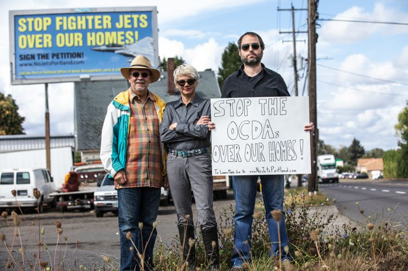 TRIBUNE PHOTO: JONATHAN HOUSE - Gary Kunz (left), Shelly Caldwell and Andrew Pritchard, founder of NoJetsPortland.com, are all calling for the Oregon Air National Guard to change the landing protocol of its jets.  Top: An F-15 Eagle fighter jet flies over the Oregon Air National Guard base in Northeast Portland.