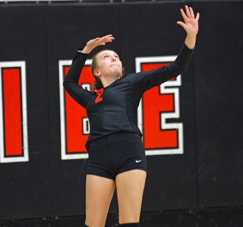 PAMPLIN MEDIA GROUP PHOTO: WADE EVANSON - Scappoose junior libero Sophi Hering hits a serve against Hillsboro, Oct. 1, at Scappoose High.