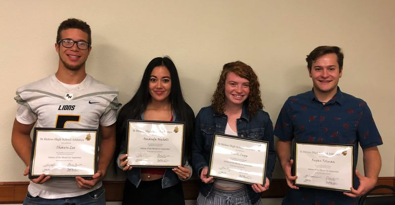 PHOTO COURTESY: ST. HELENS HIGH - Athletes of the month for September 2018 at St. Helens High are, from left: Shawn Le, football; Amanda Nichols, girls soccer: Karli Cupp, volleyball; and Regan Toman, boys soccer.