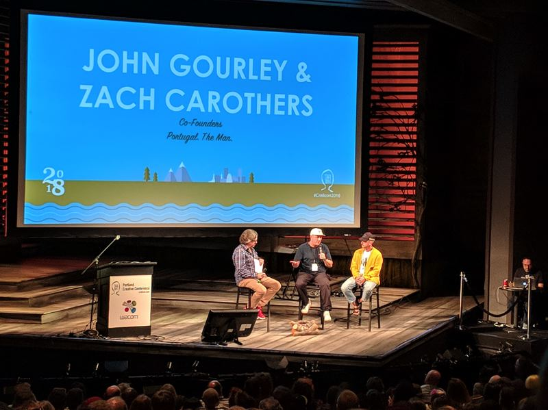 PAMPLIN MEDIA GROUP: JONATHAN HOUSE - Zach Carothers (center) and John Gourley (right) of Portugal. The Man are interviewed about their early days in Wasilla Alaska, making records on small and large budgets, and dealing with sudden fame.