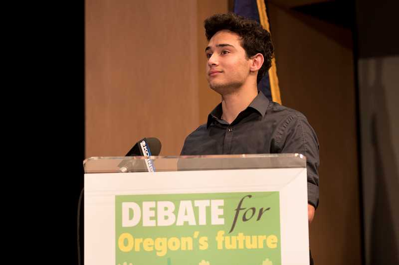 TIMES PHOTOS: JAIME VALDEZ - Sal Najjar, a 16-year-old who lives in Tigard and serves as president at Mountainside High, was one of the students wh got to ask a question of Oregon's gubernatorial candidates.