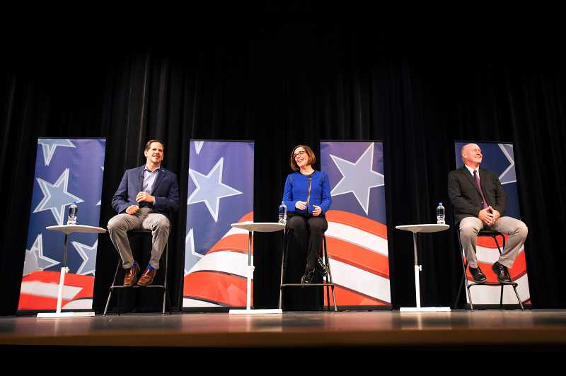 TIMES PHOTO: JAIME VALDEZ - Three candidates for the Oregon Governor's race, Republican candidate Rep. Knute Buehler, Democratic candidate Gov. Kate Brown and Independent Party of Oregon candidate Patrick Starnes, showed up for Tuesday's debate with questions posed to them by students.