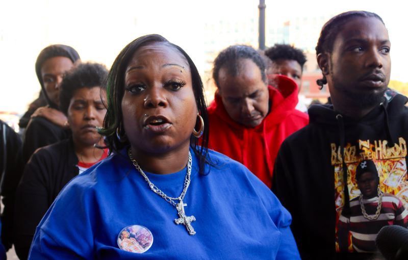 TRIBUNE PHOTO: ZANE SPARLING - Letha Winston speaks about her slain son, Patrick Kimmons, during a Black Lives Matter protest on Saturday, Oct. 6 in downtown Portland.