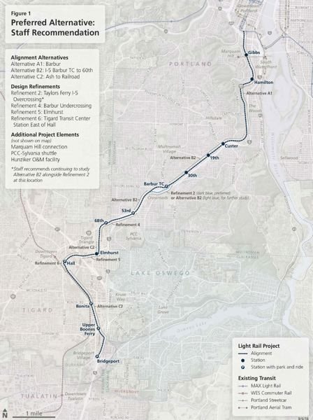 COURTESY METRO - The recommended Southwest Corridor MAX route to be considered by the City Council on Wednesday.