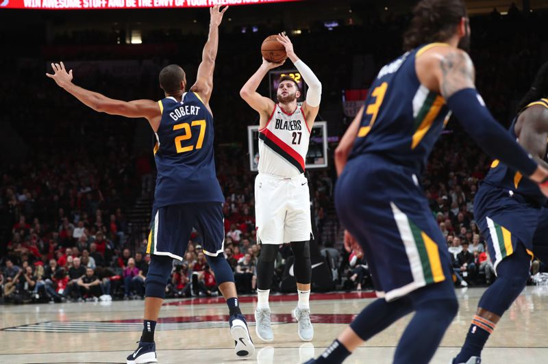 TRIBUNE PHOTO: JAIME VALDEZ - The Trail Blazers might look for even more outside shooting — from way outside — from center Jusuf Nurkic this season.