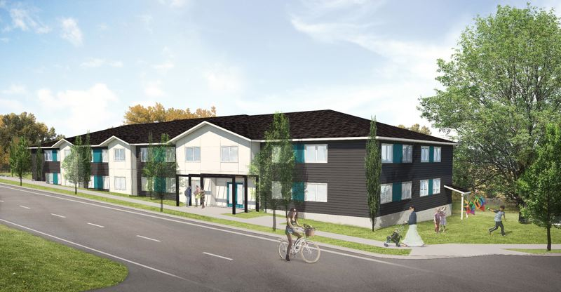 SUBMITTED RENDERING - KASA Architects produced this rendering of what the affordable housing development for 24 veterans will look like on Pleasant Avenue in Oregon City.