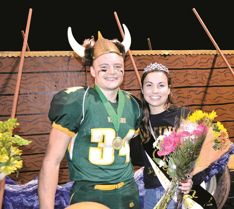 PIONEER PHOTO: CINDY FAMA - Colton's 2018 Homecoming king James Parker and queen Becca Burge.