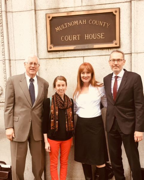 COURTESY: KIM SORDYL - From left to right: Attorney Jack Orchard, former Tribune reporter Beth Slovic, education advocate Kim Sordyl and attorney Jeff Merrick at the Multnomah County Court House May 11.