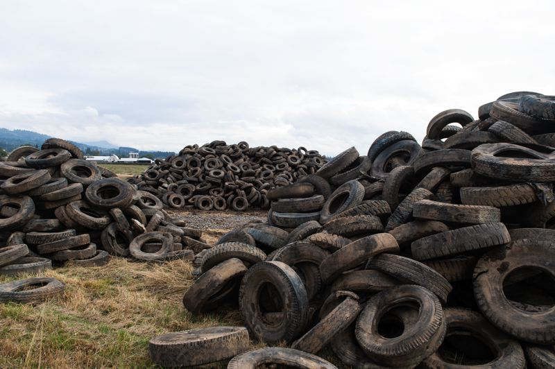 STAFF PHOTO: CHRISTOPHER OERTELL - Thousands of dirty truck tires have been dug up in the course of a restoration project in between Forest Grove and Gaston.