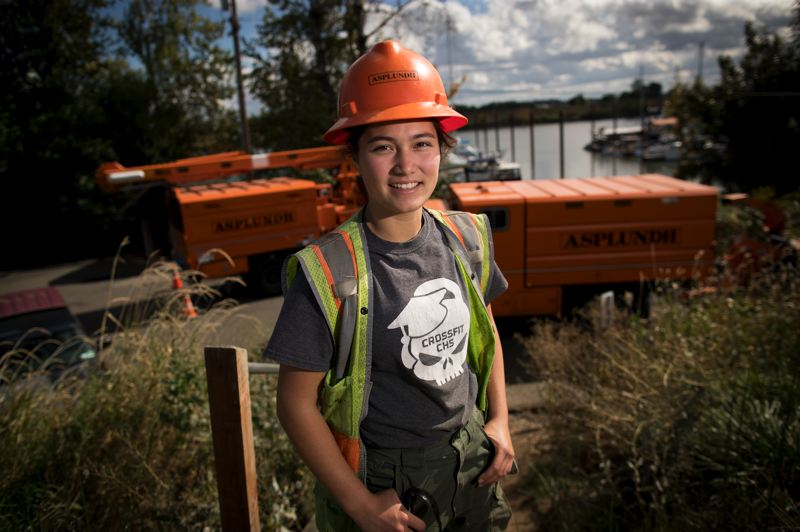 PAMPLIN MEDIA GROUP: JAIME VALDEZ - Saylor Neher is finishing up a 4,000-hour apprenticeship as a powerline clearance tree trimmer with Asplundh.