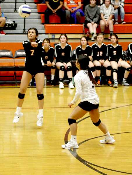 STEELE HAUGEN - Rosi Olivera makes a dig during Culver's home tournament Oct. 4.