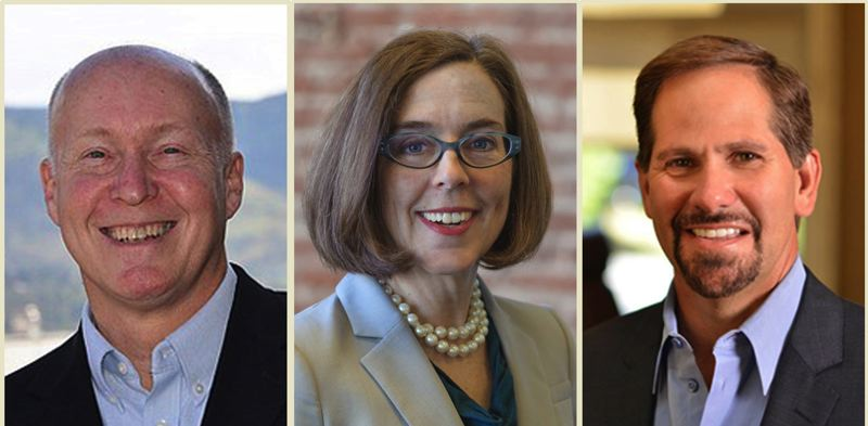 PAMPLIN MEDIA GROUP FILE PHOTO - Candidates Patrick Starnes, Gov. Kate Brown and Knute Buehler will all take part in the final gubernatorial debate at KGW TV Tuesday night. Starnes has been left out of the debate.