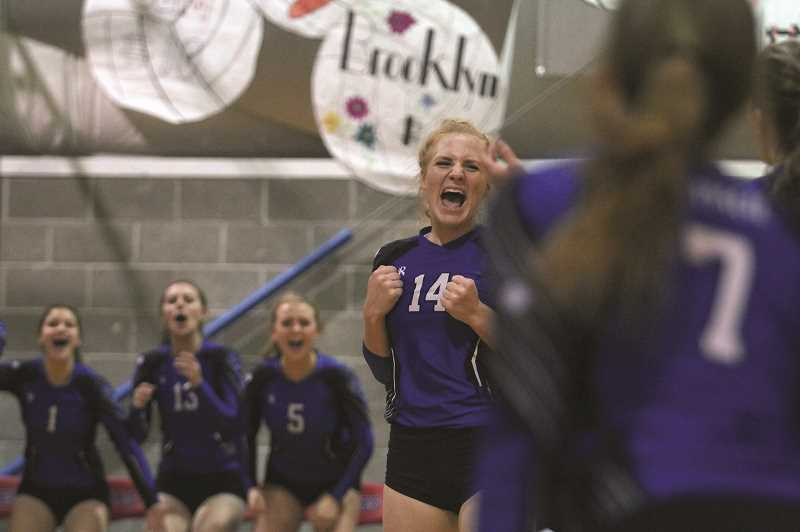 PHIL HAWKINS - St. Paul junior Isabelle Wyss celebrates a point as the No. 1 Buckaroos defeated the No. 9 Crosshill Christian Eagles 3-0 on Thursday to keep their unbeaten streak alive.