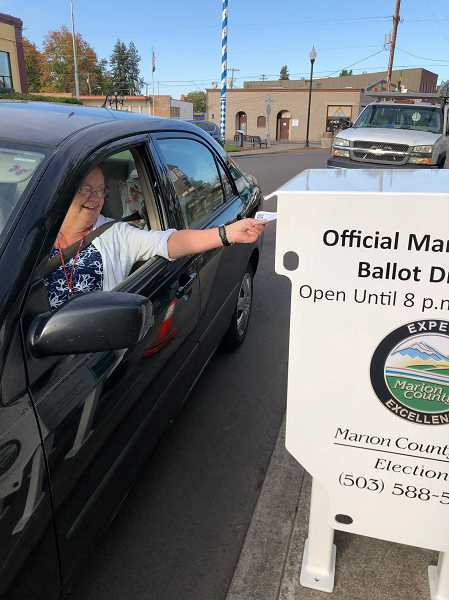 COURTESY PHOTO: CITY OF MOUNT ANGEL - Drivers can drive up and drop off their ballots at a drive-up drop box outside Mount Angel Public Library.
