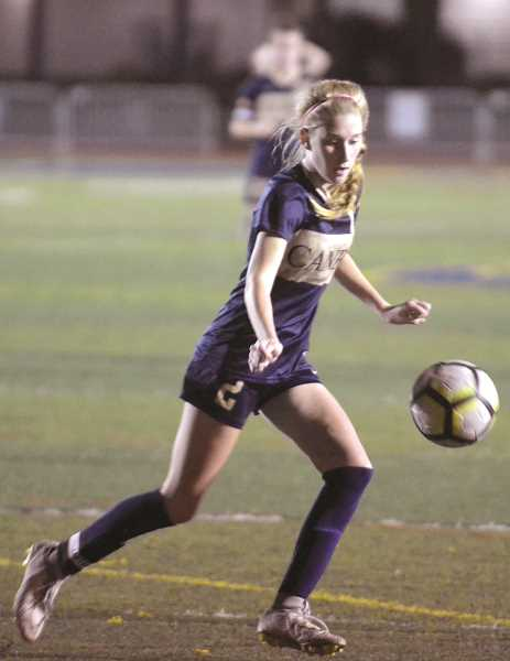 HERALD PHOTO: TANNER RUSS - Canby senior Claire Wright scored the game winner against Lakeridge, with the Cougars winning 1-0.