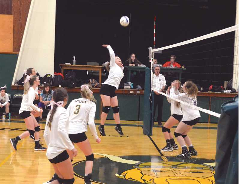 PIONEER PHOTO: TANNER RUSS - Colton's Madelyn Robinson goes up for the kill.