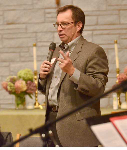 REVIEW PHOTO: VERN UYETAKE - City Council candidate Randy Arthur at Monday night's forum.