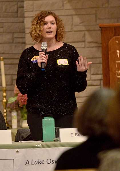 REVIEW PHOTO: VERN UYETAKE - City Council candidate Emma Burke at Monday's forum.