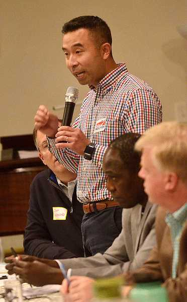 REVIEW PHOTO: VERN UYETAKE - City Council candidate Daniel Nguyen at Monday's forum.