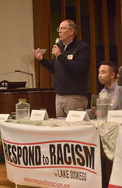 REVIEW PHOTO: VERN UYETAKE - City Council candidate John Wendland at Monday's forum.