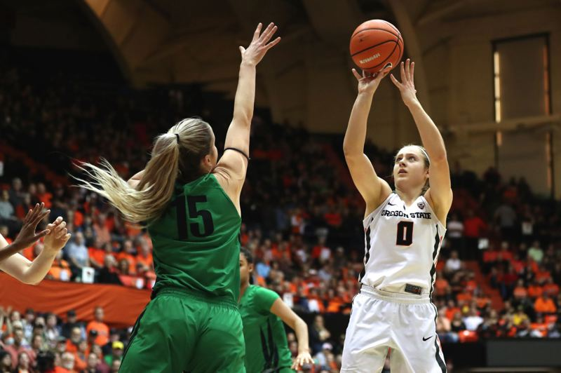 TRIBUNE FILE PHOTO: JAIME VALDEZ - Mikayla Pivec (right) is one of three returning starters for Oregon State, and is likely to play mostly shooting guard this season.
