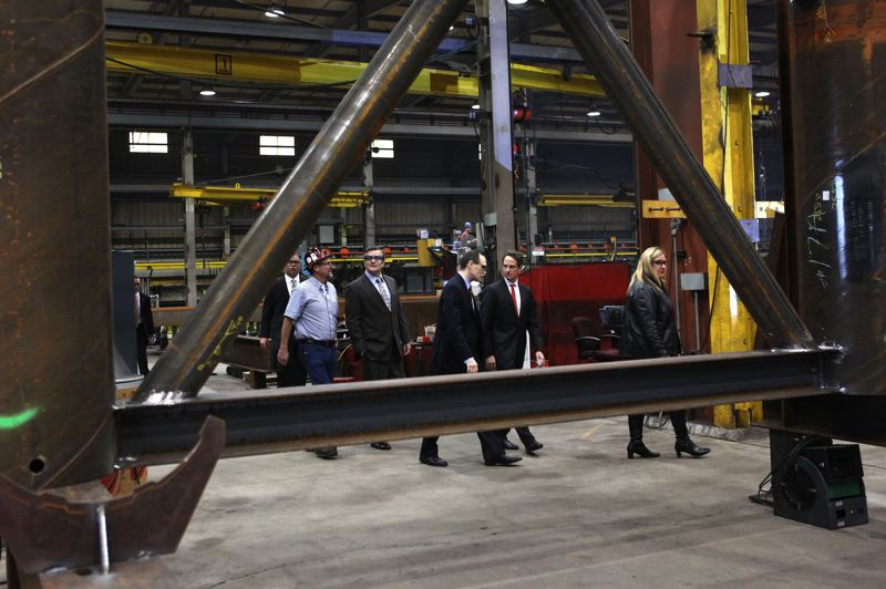 PAMPLIN MEDIA GROUP: FILE - Structural portions of the new Sellwood Bridge were manufactured at the Oregon Iron Works facility in Clackamas.