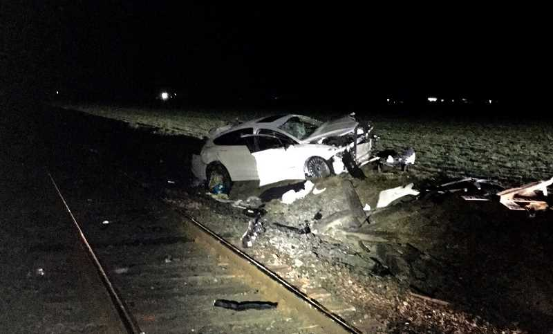 COURTESY PHOTO: WCSO - Authorities say a vehicle stopped too close to a train track on Wren Road, Wednesday evening, and was struck by a train.