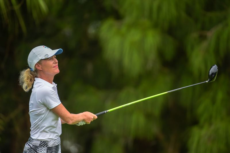 COURTESY: UNITED STATES GOLF ASSOCIATION - Lara Tennant follows a tee shot during Thursday's championship match.