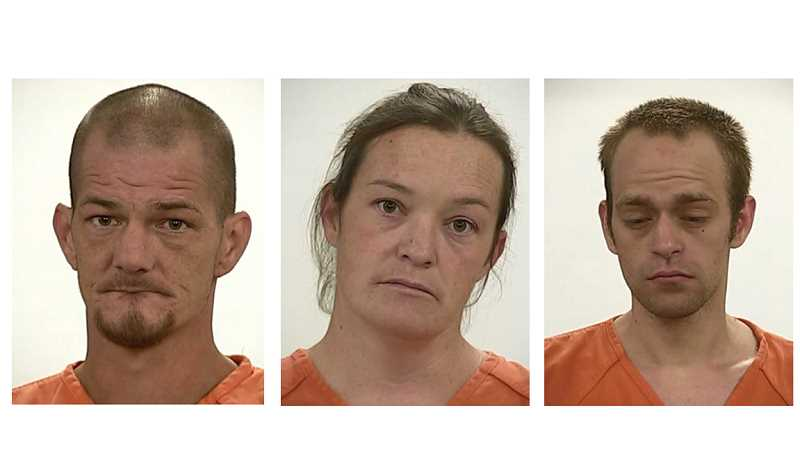 SUBMITTED PHOTOS - Crooked River Ranch residents Jonothan Vance, Mellody Barnes and George Austin-Vance were arrested on drug charges at their residence Oct. 3 and 5.