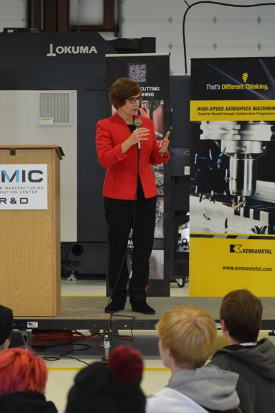 SPOTLIGHT PHOTO: COURTNEY VAUGHN - Congresswoman Suzanne Bonamici addresses students during a Manufacturing Day event at OMIC on Oct. 5.